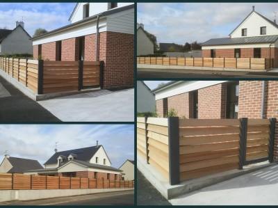Cl ture aluminium et bois r alisations et ouvrages for Cloture fer et bois